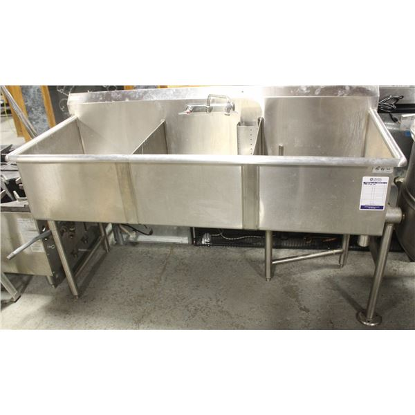 STAINLESS STEEL 3-COMPARTMENT SINK W/ FAUCET