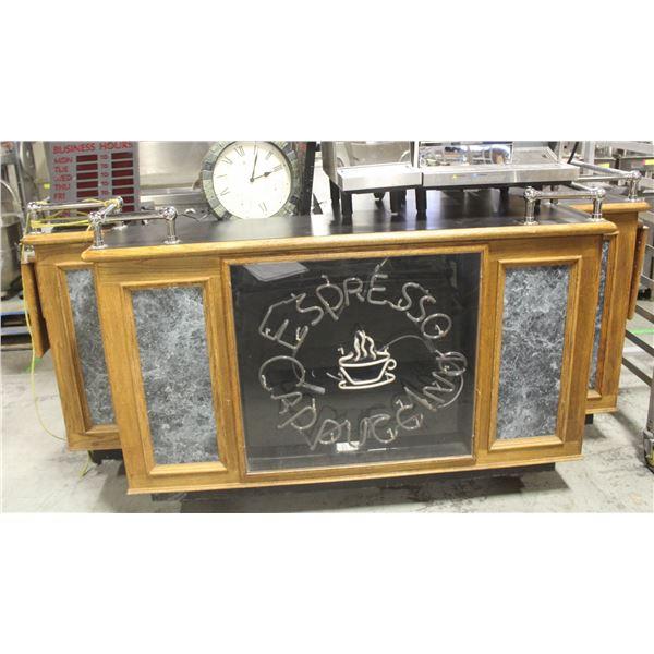 CUSTOM COFFEE BAR WITH NEON SIGN ON CASTORS