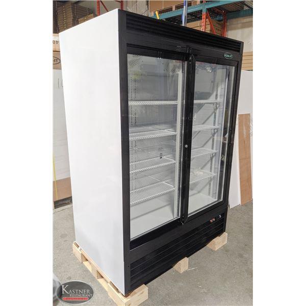 NEW KOOL-IT 34.6 CU. FT. DOUBLE SLIDING GLASS DOOR