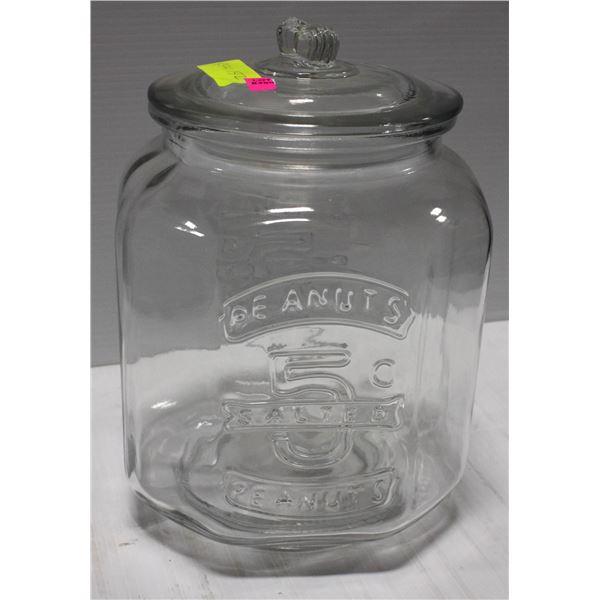 LARGE GLASS TRADITIONAL STORE DISPLAY PEANUT JAR