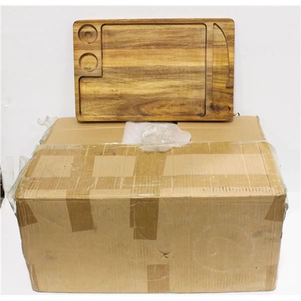 BOX OF 20 NEW WOOD CHARCUTERIE BOARDS