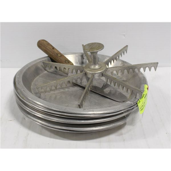 """SEVEN 9"""" PIE PLATES WITH LIFTER AND DIVIDER"""