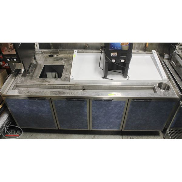 S/S COUNTER TABLE W/ 2  WASTE CHUTE