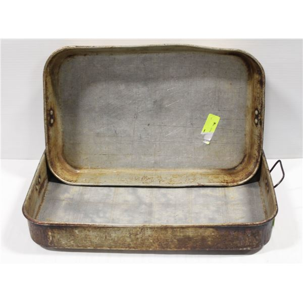 LOT OF 2 SQUARE ROASTING PANS
