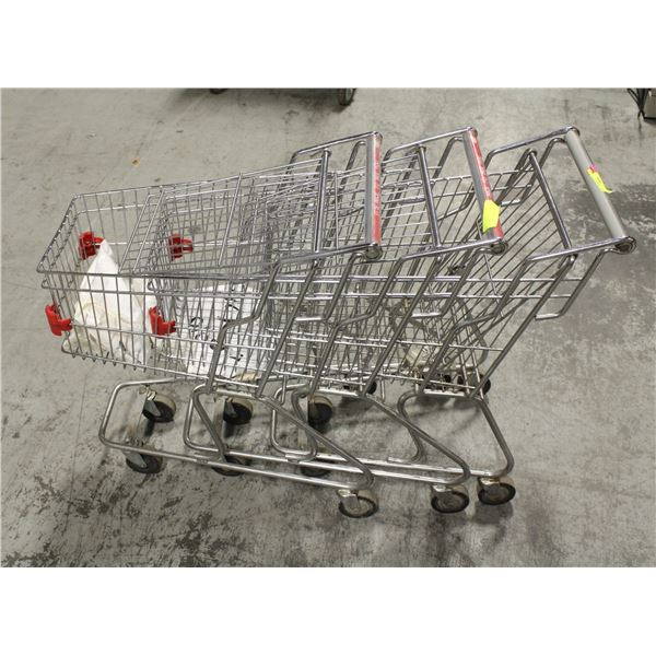 LOT OF 3 KIDS SIZE SHOPPING CARTS