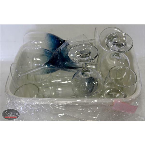 K13 BAILIFF SEIZURE: TRAY OF ASSORTED GLASSWARE