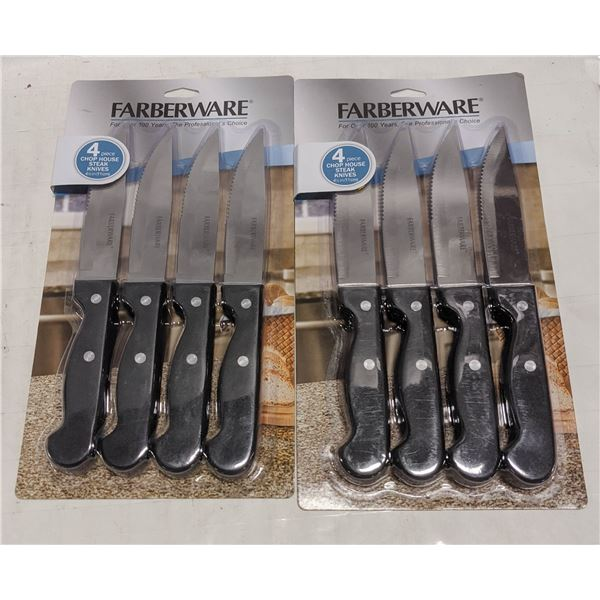 LOT OF 8 NEW FARBERWARE CHOP HOUSE STEAK KNIVES