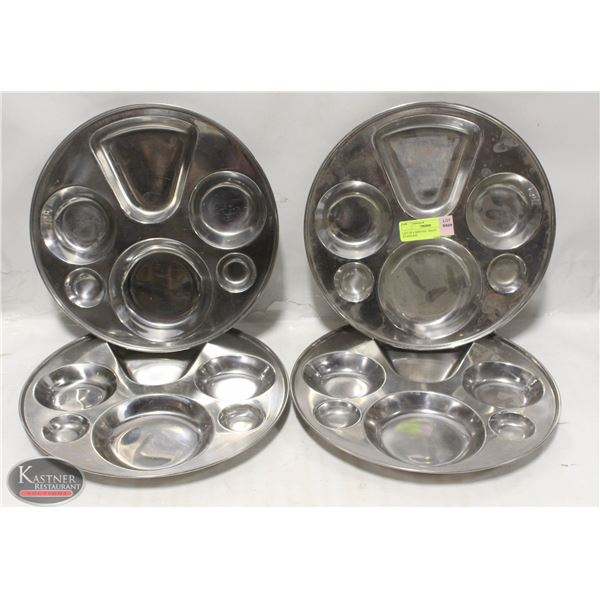 LOT OF 4 SERVING TRAYS STAINLESS