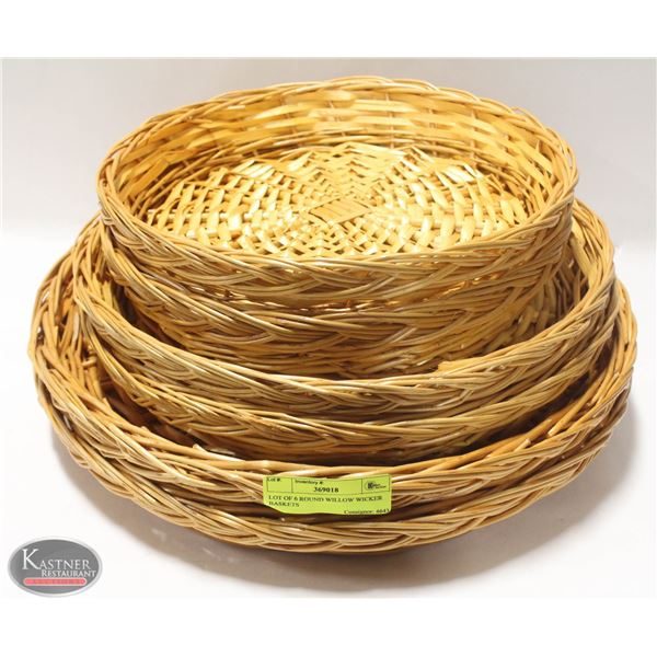 LOT OF 6 ROUND WILLOW WICKER BASKETS