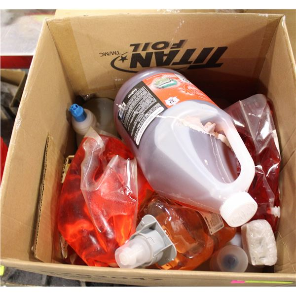 BOX OF ASSORTED CLEANING SOAPS/SANITIZER