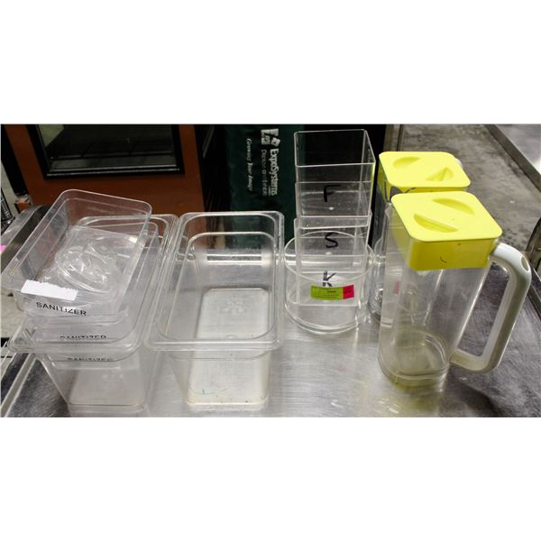 LARGE LOT OF ASSORTED POLY CARB FOOD CONATINERS