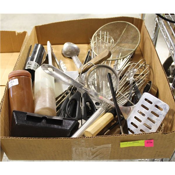 FLAT OF ASSORTED KITCHEN UTENSILS INCL: TONGS,