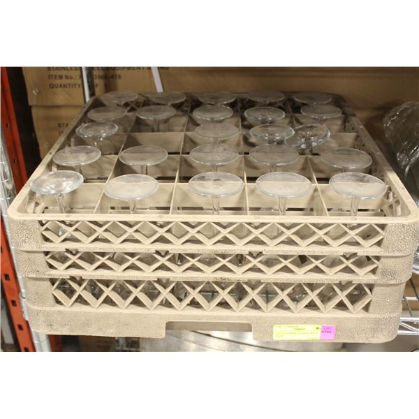 LOT OF 24 WINE GLASSES WITH RACK