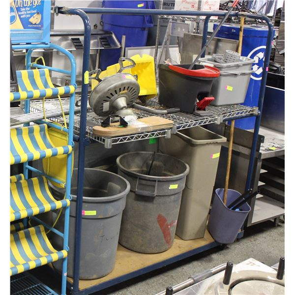 BLUE TWO TIER TUBULAR ROLLING CART
