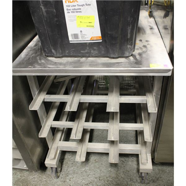 S/S WORK TABLE W/ 3 TIER CAN STORAGE ON CASTORS