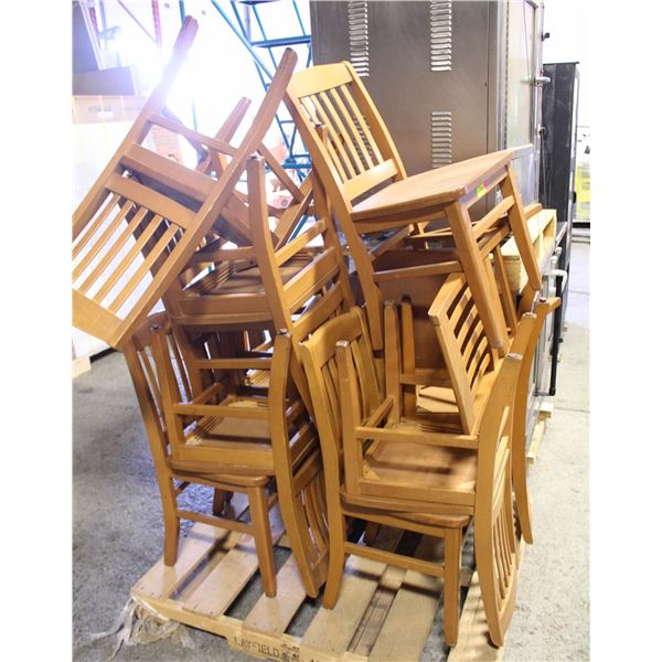 LOT OF 12 WOODEN DINING CHAIRS