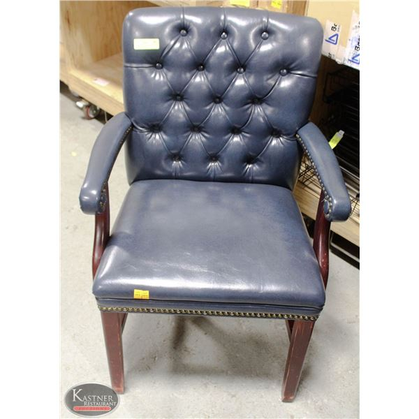 LOT OF 4 BLUE ELGIN ARMCHAIRS WOOD & LEATHERETTE