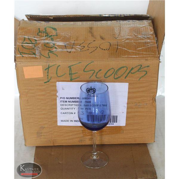 K13 BAILIFF SEIZURE: LOT OF BLUE TINT WINE GLASSES