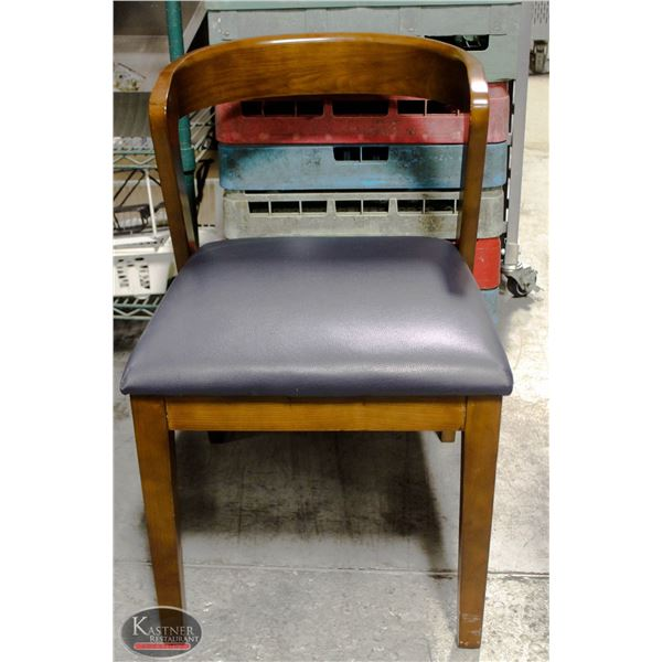 LOT OF 4 BLUE LEATHER VENEER WOOD DINING CHAIRS