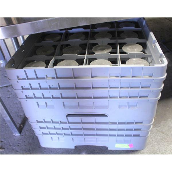 LOT OF 30 MARTINI GLASSES W/ TWO 16 SLOT DISH