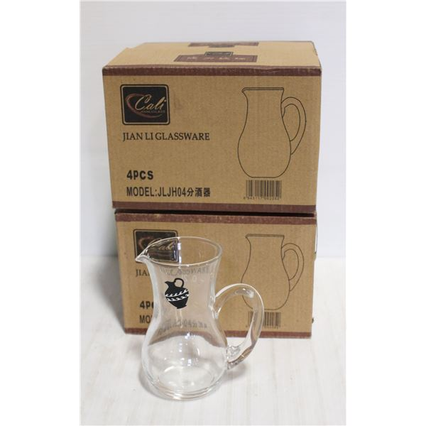 LOT OF 2 CASES OF 4 NEW MINI PITCHERS