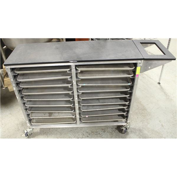 COMMERCIAL FOOD SERVICE CART FULL OF 1/2 SIZE