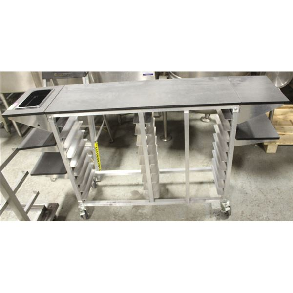 COMMERCIAL FOOD SERVICE CART W/ SHELF EXTENSIONS,