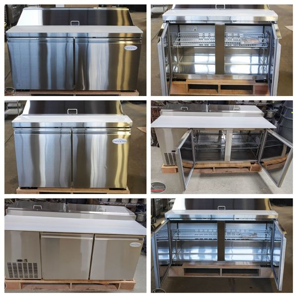 FEATURED LOTS: NEW STAINLESS STEEL REFRIGERATED PREP TABLE