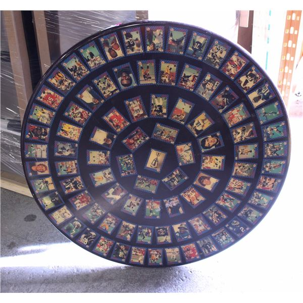 ROUND DINING TABLE W/ CFL FOOTBALL CARDS EMBEDDED