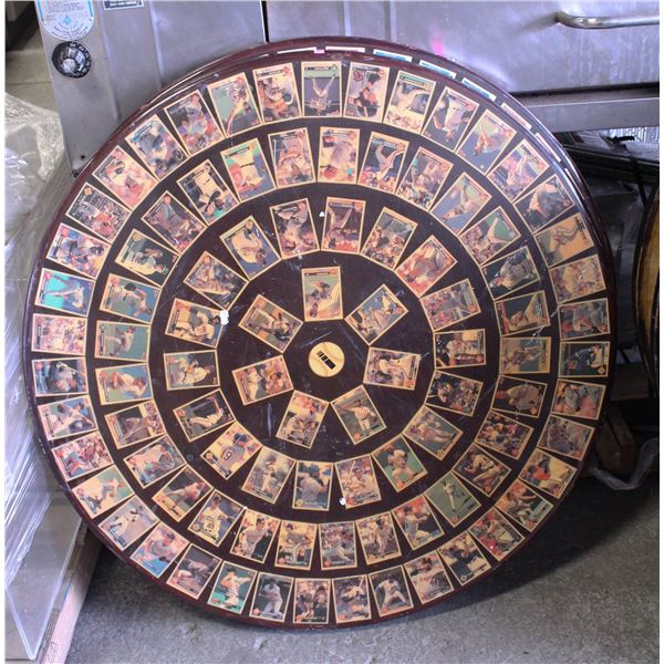 ROUND DINING TABLE W/ MLB BASEBALL CARDS EMBEDDED