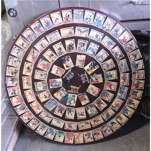 ROUND DINING TABLE W/ NHL HOCKEY CARDS EMBEDDED