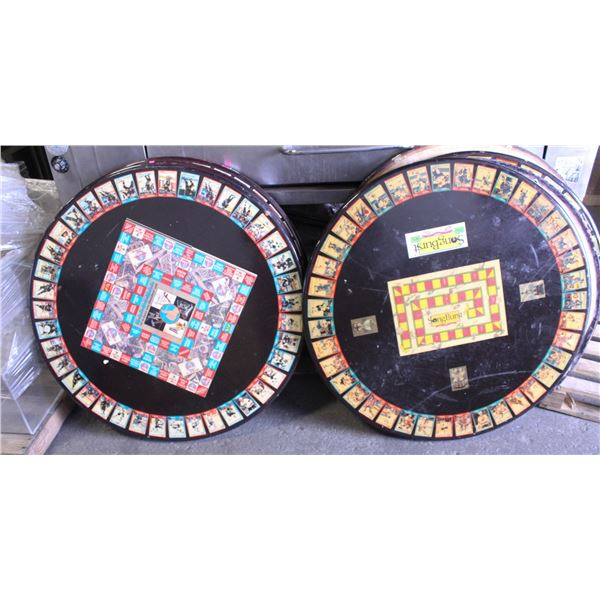 LOT OF 2 ROUND DINING TABLES W/ BOARDGAMES & NHL