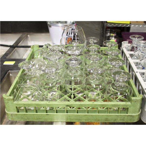 RACK WITH 20 BRANDY SNIFTER COGNAC GLASSES