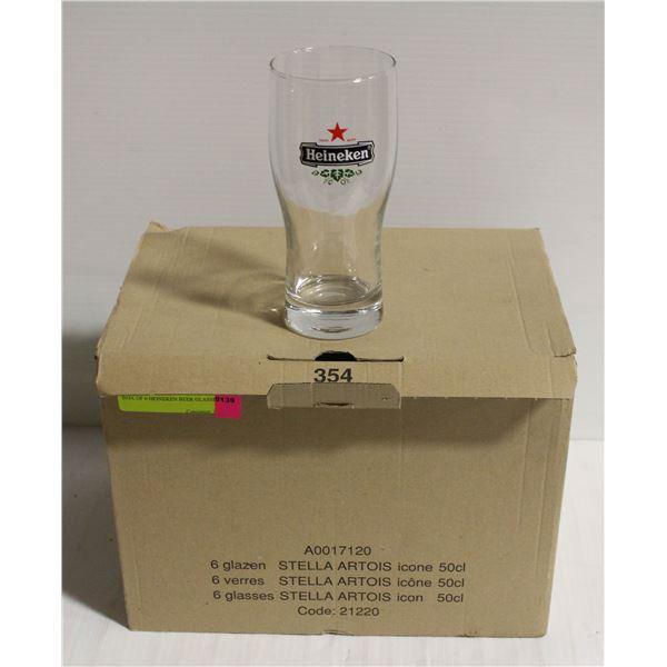 BOX OF 6 HEINEKEN BEER GLASSES