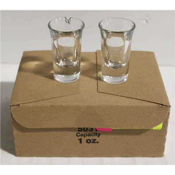BOX OF 12 X 1 OZ GLASS SHOT GLASSES - NEW