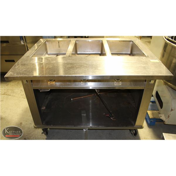 HATCH 3 WELL STEAM TABLE W/ FOLD-OUT  PREP SURFACE
