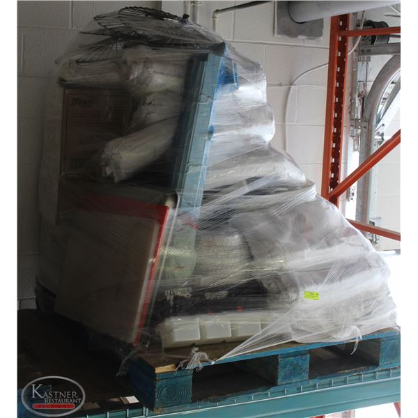 PALLET OF KITCHEN MISC. INCL: WHITE TABLE CLOTHS,