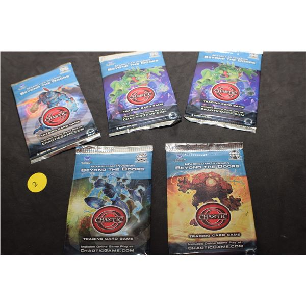 5 packs of 1st edition sealed Chaotic trading cards