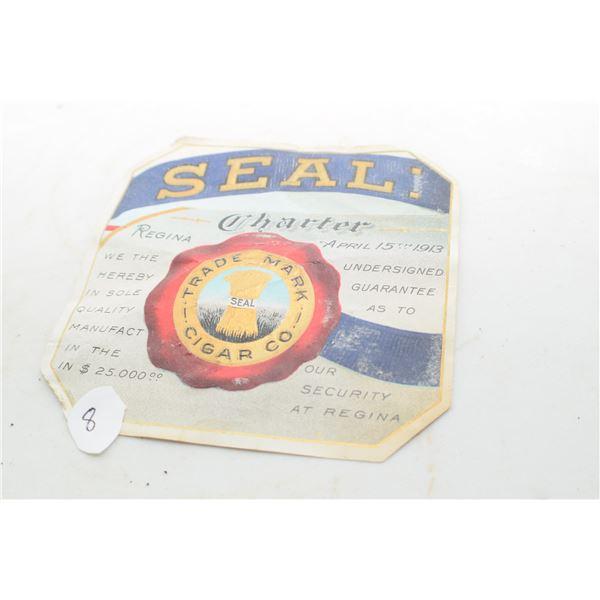 Rare Regina 1913 Cigar Box label