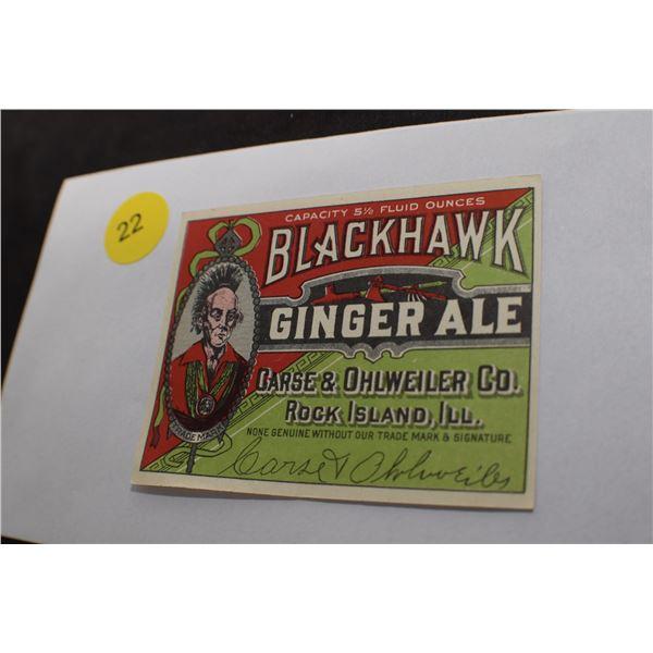 Black Hawk Ginger Ake NOS Label