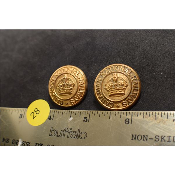 Antique Scully CNR Railway Kings Crown Buttons