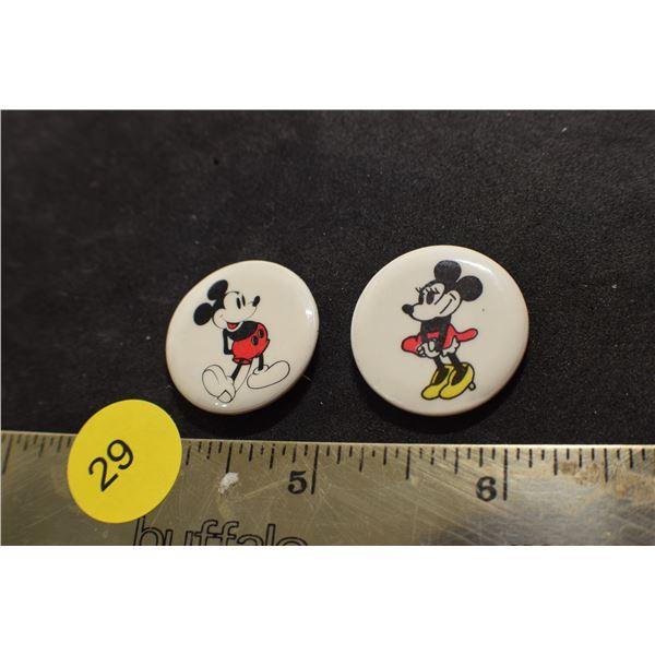 Vintage Mickey and Minnie Pinbacks