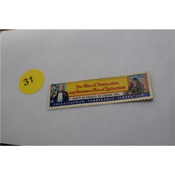 Rare Saskatoon Prohibition Stamp