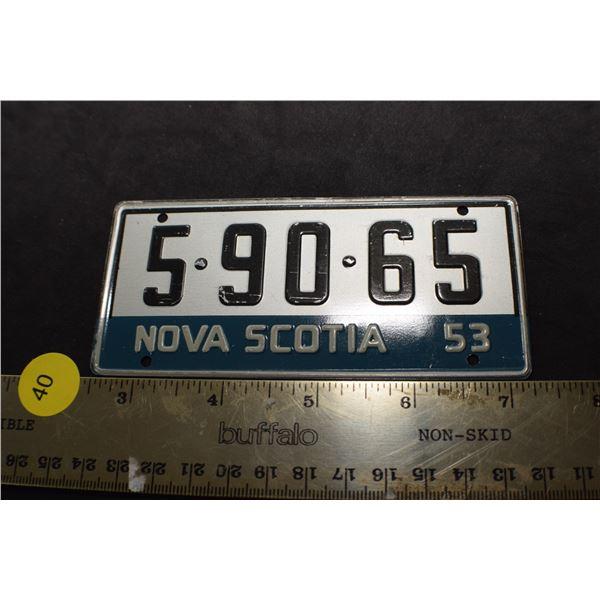 1953 Wheaties Cereal mini license plate Nova Scotia