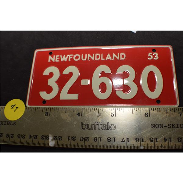 1953 Wheaties Cereal mini license plate Newfoundland
