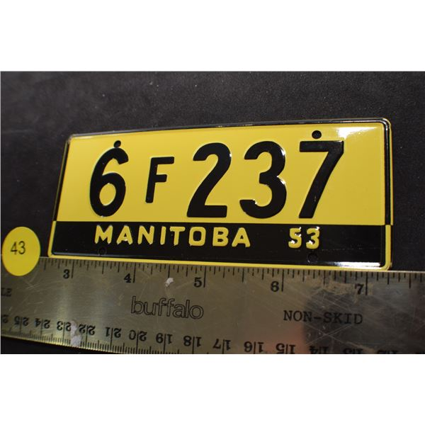 1953 Wheaties Cereal mini license plate Manitoba