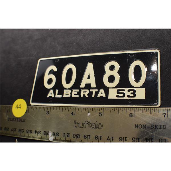 1953 Wheaties Cereal mini license plate Alberta