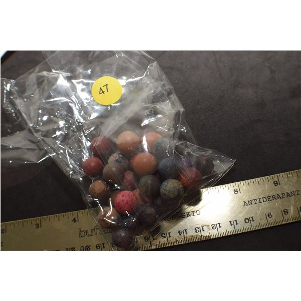 Antique Bag Clay marbles