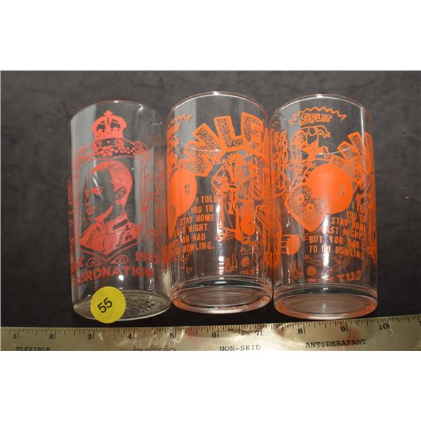 2 antique painted Label Glasses 1 is bowling & 1 is 1937 Coronation
