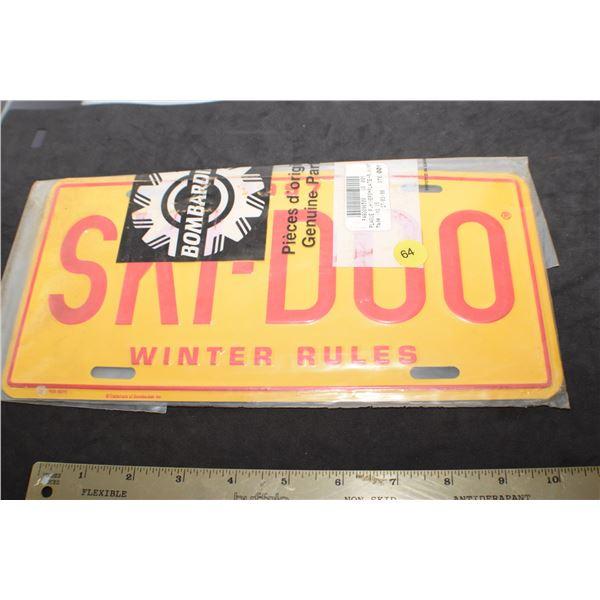 Ski-doo license plate w/ original Bombardier parts envelope